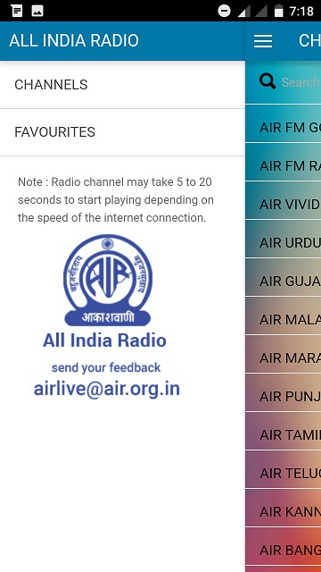All India Radio live menu free download app