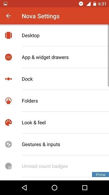 nova settings