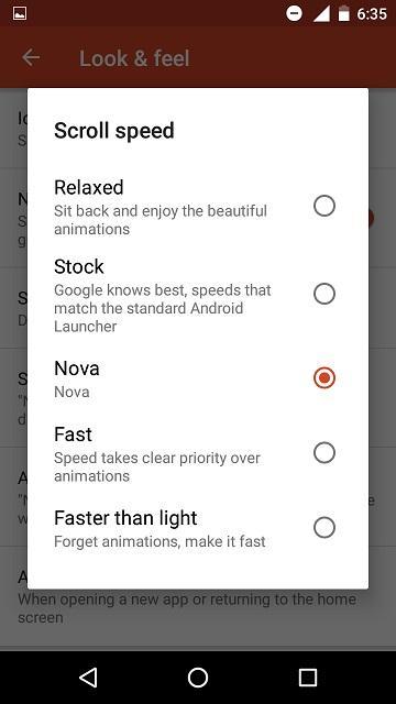 Nova scroll speed