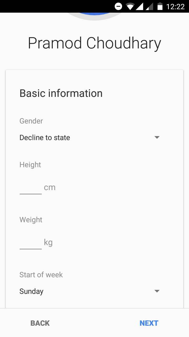 google fit personal information