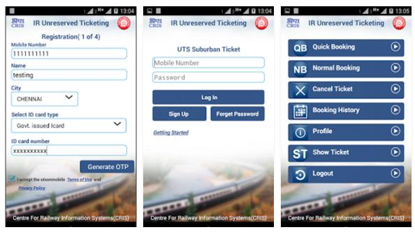 utsonmobile app to book unreserved train tickets online