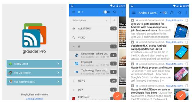 gReader is the best RSS Feed Reader Feedly alternative