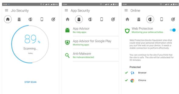 JioSecurity Android antivirus and malware remover app