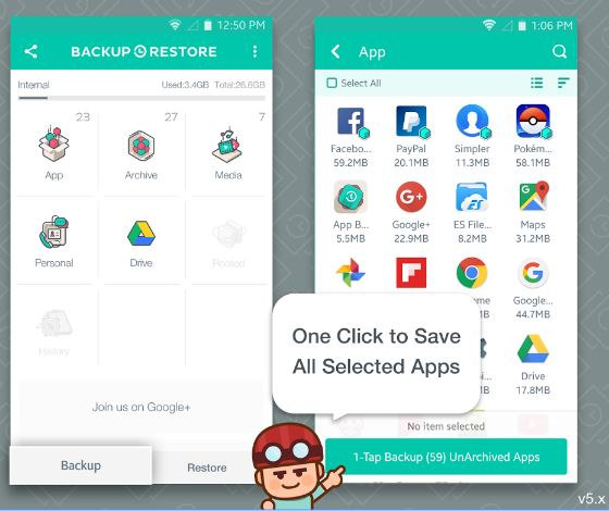 backup and restore app for Android