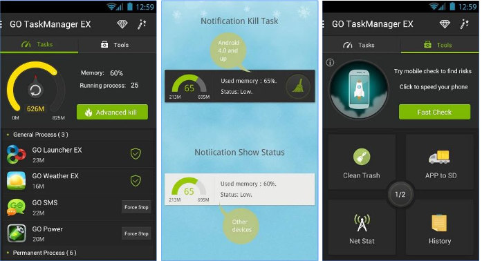 go taskmanager ex - best Android app killers