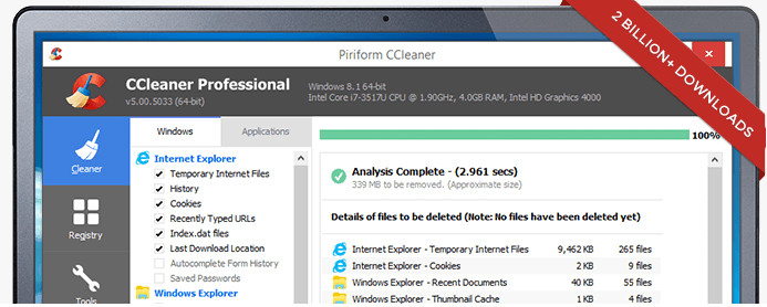 ccleaner - best Windows 10 apps
