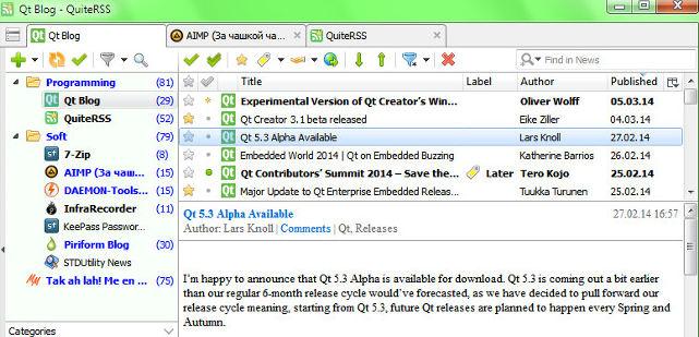 quiterss - best Windows 10 app