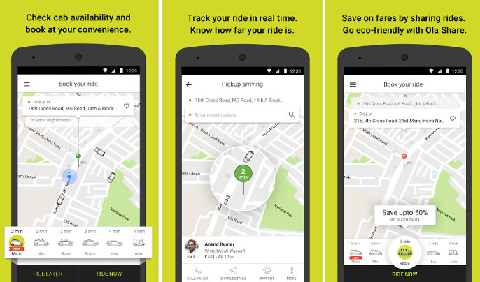 ola cabs - best ride sharing apps