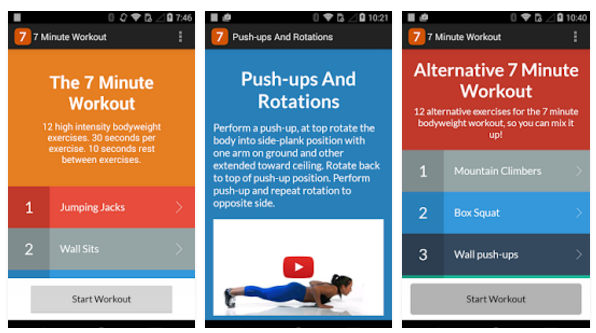 7 minutes workout app for android and iPhone