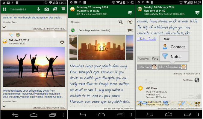 Memoires - best Android Journal app