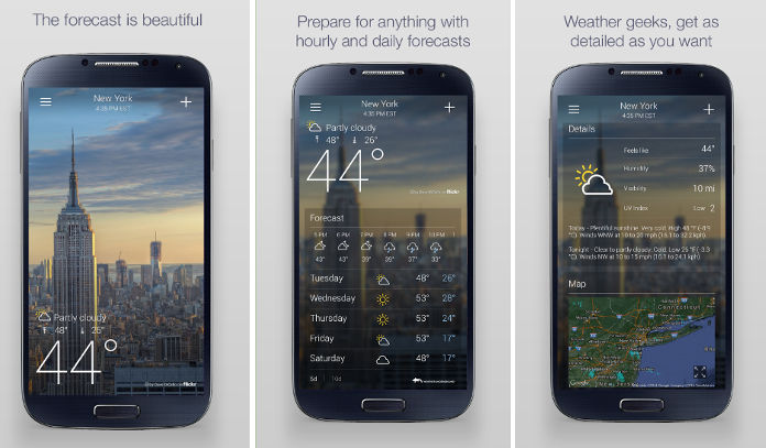 Yahoo Weather widget app for Android