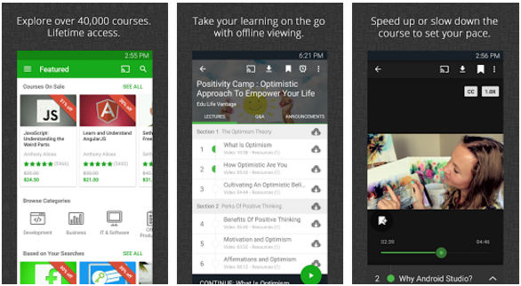 Udemy - best educational apps for Android and iOS