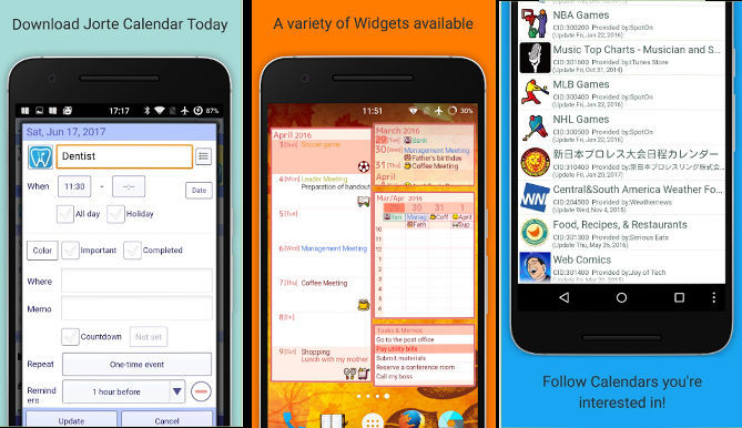 Jorte: Bets calendar apps for Android