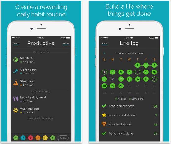 Productive goal setting app for iPhone, iPad