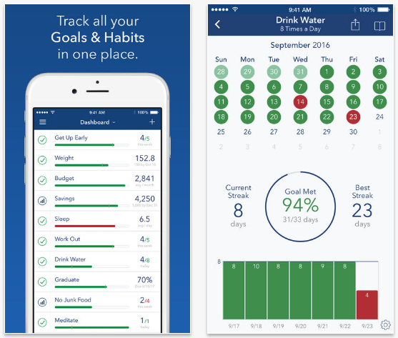 Strides goals setting app for iOS