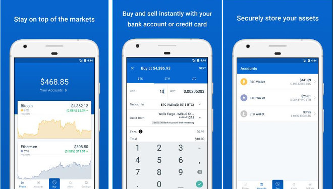 CoinBase - best bitcoin wallet apps