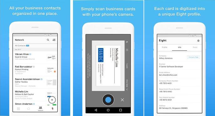Best business card scanner apps for android and ios eight is a linkedin like a social network for business professionals it has been developed by sansan a japanese firm the app scans your business card and colourmoves