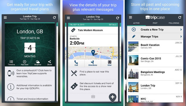 TripCase - Best travel planning apps for Android and iPHone