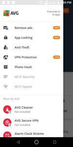 AVG Android menu