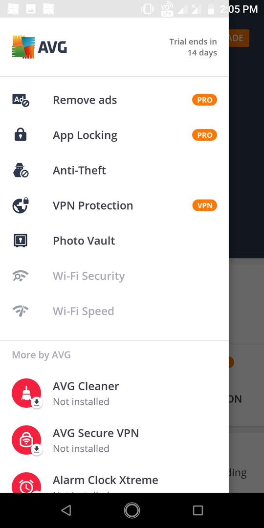 AVG Android menu