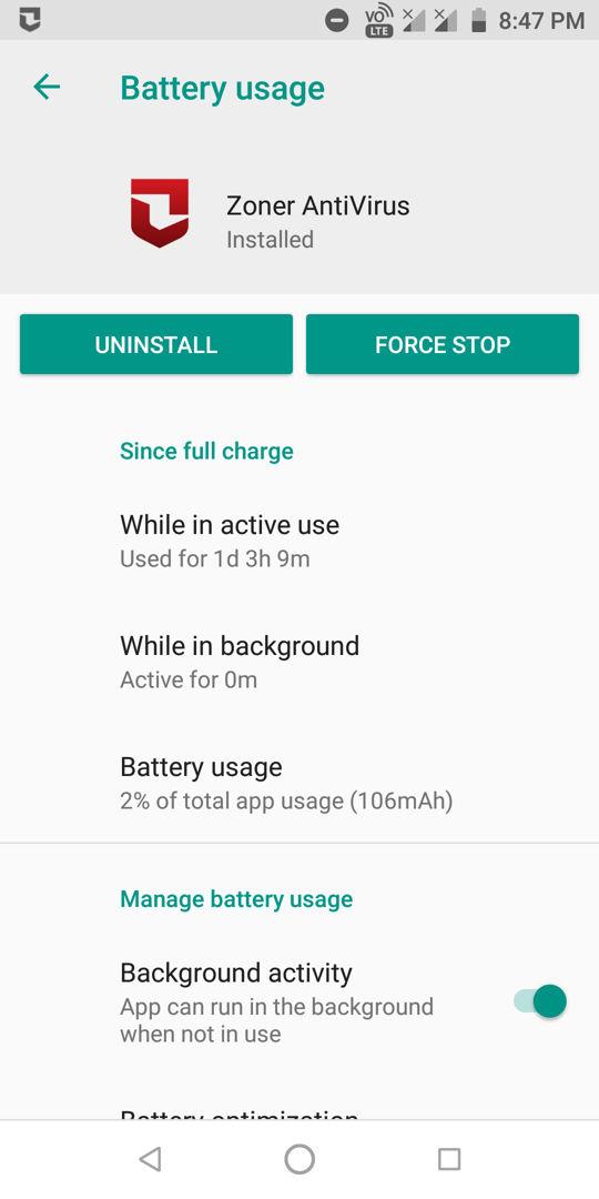 zoner battery usage