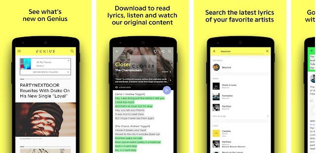 Genius lyrics app for Android and iOS